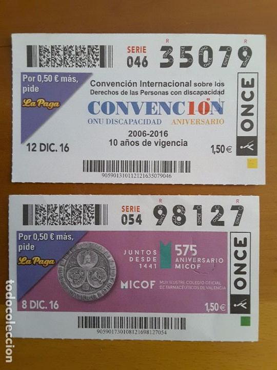 CUPONES AÑO 2016 (Coleccionismo - Lotería - Cupones ONCE)