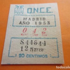 Cupones ONCE: CUPON ONCE MADRID 1953 SERIE CAPICUA 44644 - 12 DE MARZO. Lote 86497936