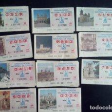 Cupones ONCE: LOTE 11 CUPONES ONCE- CIUDADES, MONUMENTOS, TURISMO DE ESPAÑA, AÑO 1986. Lote 87686340
