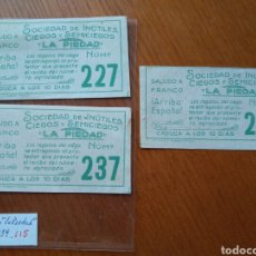 Cupones ONCE: 3 CUPONES SOCIEDAD DE INÚTILES CIEGOS Y SE ME CIEGOS LA PIEDAD SALUDO A FRANCO- 1939 - ALCOY. Lote 89210328