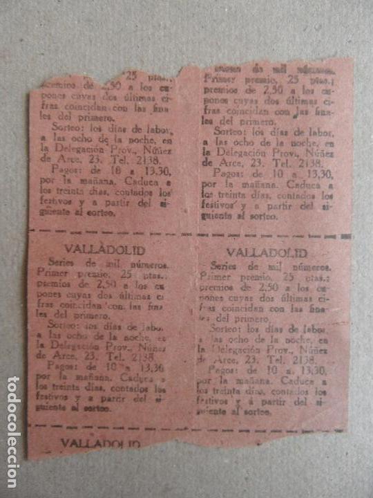 Cupones ONCE: Cupones de la Organización Nacional de Ciegos. Delegación Provincial Valladolid. 1948 - Foto 2 - 89493380