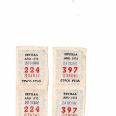Cupones ONCE: LOTE DE 2 TIRAS CON 2 CUPONES CADA UNA SERIES CONSECUTIVAS ONCE CIEGOS LOTERÍA LOTERY SEVILLA 1975. Lote 93532285