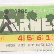 Cupones ONCE: CUPÓN ONCE, VIERNES ( 2 MAYO 1986 ). Lote 96025223