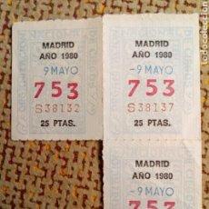 Cupones ONCE: 3 CUPONES LOTERÍA NACIONAL DE CIEGOS, CUPÓN ONCE, DELEGACIÓN DE MADRID, 1980, 09 MAYO, Nº 753 . Lote 97487204