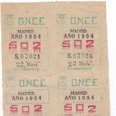 Cupones ONCE: CUPONES ANTIGUOS DE LA ONCE 22 DE MAYO DE 1954. Lote 98524807