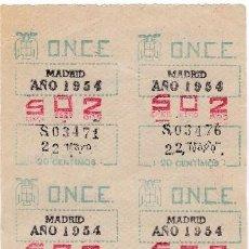 Cupones ONCE: CUPONES ANTIGUOS DE LA ONCE 22 DE MAYO DE 1954. Lote 98524943