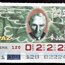 Cupones ONCE: ESPAÑA. ONCE. 1997. PREMIOS NOBEL PAZ: LORD JOHN BOYD, 1949. FECHA: 9 JUNIO. EL NÚMERO PUEDE VARIAR.. Lote 98822879