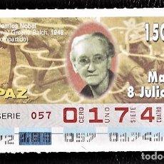 Cupones ONCE: ESPAÑA. ONCE. 1997. PREMIOS NOBEL PAZ: EMILY GREENE BALCH, 1946. FECHA: 8 JULIO. EL NÚMERO PUEDE VAR. Lote 98822887