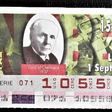 Cupones ONCE: ESPAÑA. ONCE. 1997. PREMIOS NOBEL PAZ: CECIL OF CHELWOOD, 1937. FECHA: 1 SEPTIEMBRE. EL NÚMERO PUEDE. Lote 98822958
