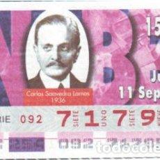 Cupones ONCE: ESPAÑA. ONCE. 1997. PREMIOS NOBEL PAZ: CARLOS SAAVEDRA LAMAS. 1936. FECHA: 11 SEP. EL NÚMERO PUEDE V. Lote 98822966