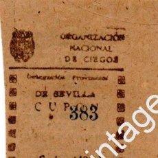 Cupones ONCE: PAREJA CUPÓNES 1944 DELEGACIÓN DE SEVILLA. Lote 99798015