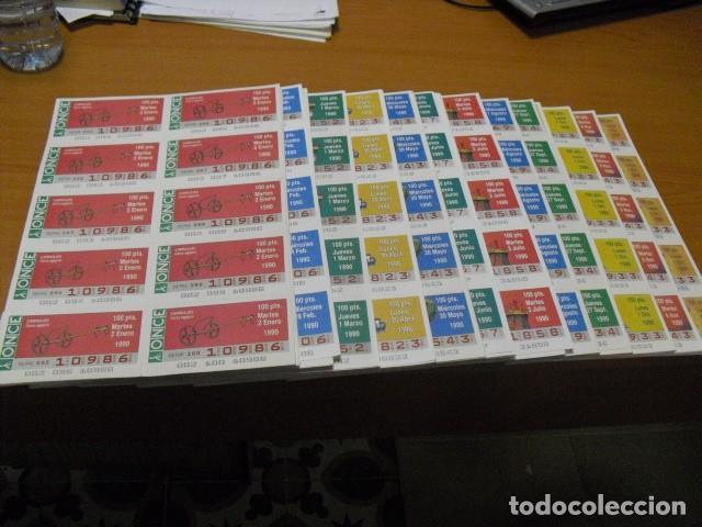 CUPON ONCE, 1990,AÑO COMPLETO EN PLANCHAS DE 10 CUPONES CADA PLANCHA, (Coleccionismo - Lotería - Cupones ONCE)