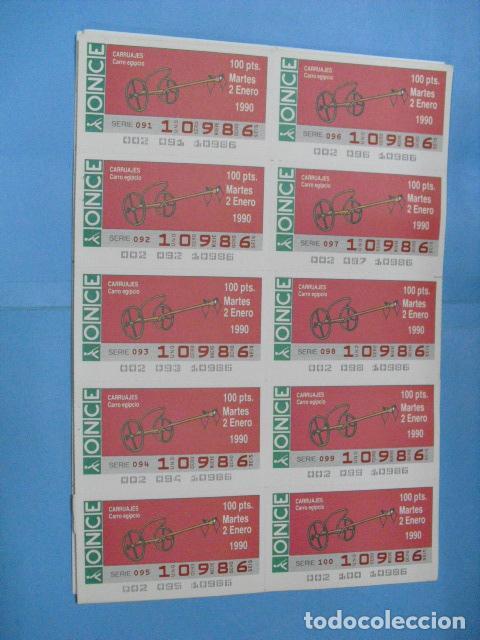 Cupones ONCE: cupon once, 1990,año completo en planchas de 10 cupones cada plancha, - Foto 2 - 102536171