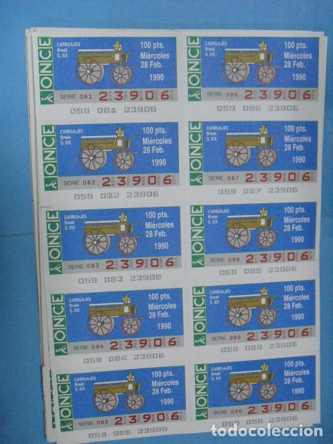 Cupones ONCE: cupon once, 1990,año completo en planchas de 10 cupones cada plancha, - Foto 3 - 102536171