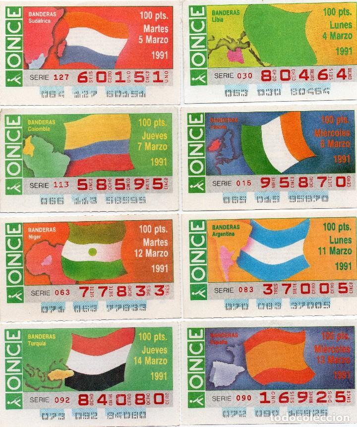 CUPONES ONCE 1991, SERIE BANDERAS 50 CUPONES, SERIE COMPLETA (Coleccionismo - Lotería - Cupones ONCE)