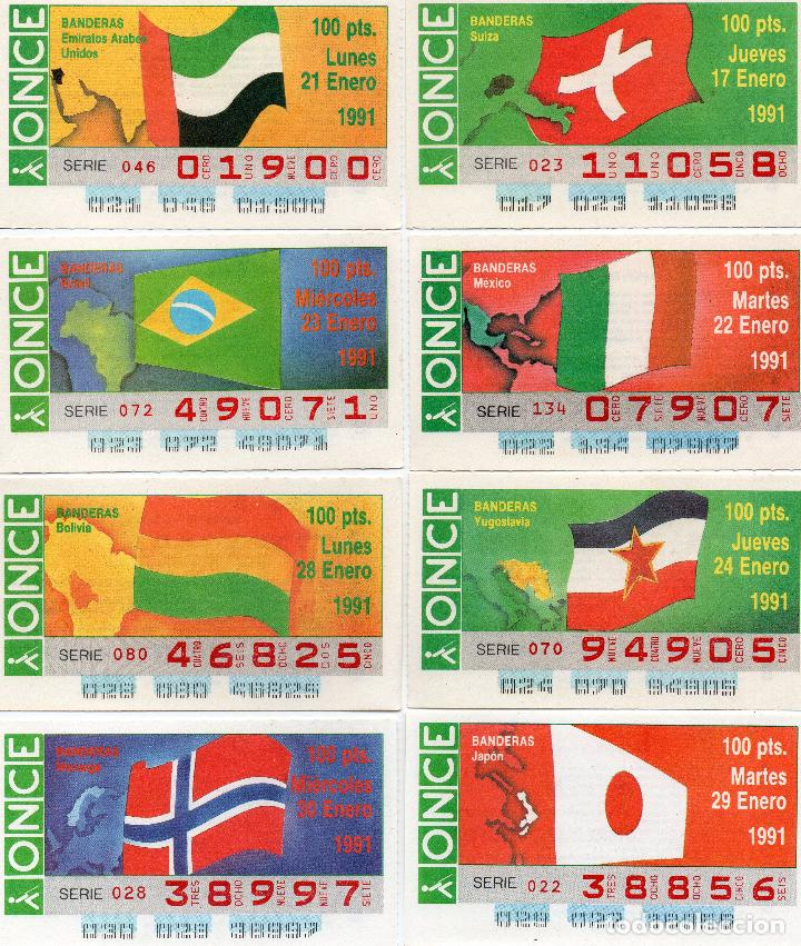 Cupones ONCE: cupones once 1991, serie banderas 50 cupones, serie completa - Foto 6 - 102631367