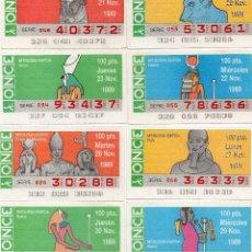 Cupones ONCE: CUPONES ONCE 1989, SERIE MITOLOGÍA EGIPCIA, 17 CUPONES SERIE COMPLETA. Lote 102683403