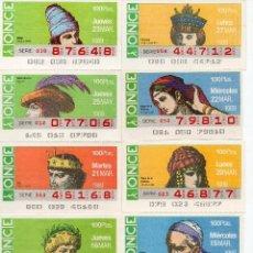 Cupones ONCE: CUPONES ONCE 1989,SERIE SOMBREROS ADORNOS DE CABEZA, SERIE DE 108 CUPONES COMPLETA. Lote 102712063