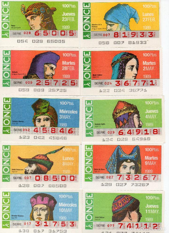 Cupones ONCE: cupones once 1989,serie sombreros adornos de cabeza, serie de 108 cupones completa - Foto 3 - 102712063