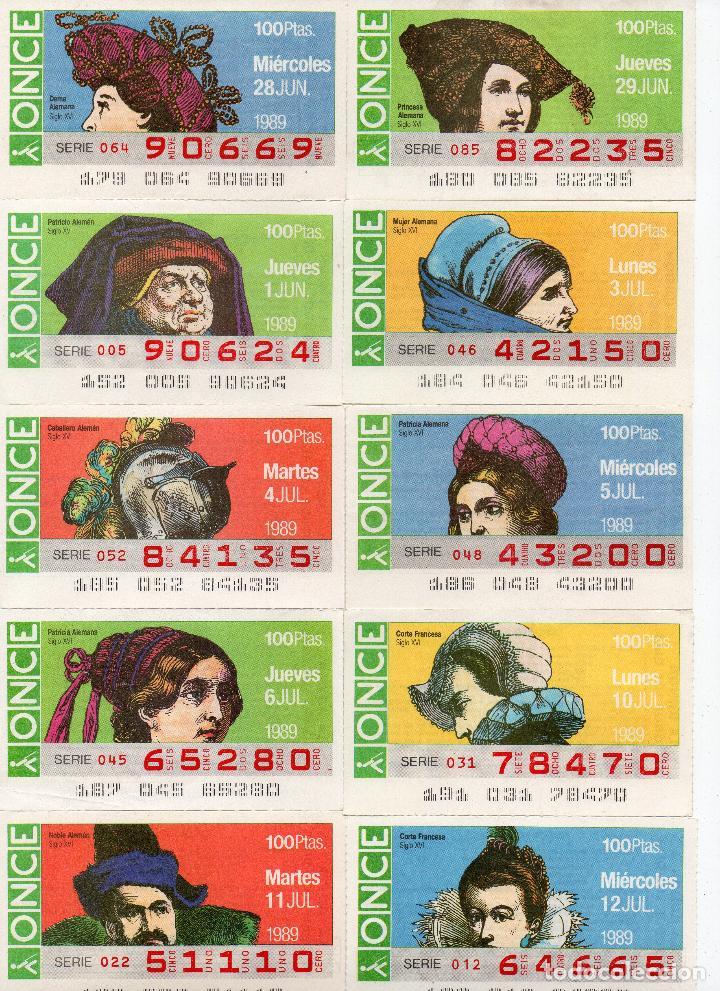 Cupones ONCE: cupones once 1989,serie sombreros adornos de cabeza, serie de 108 cupones completa - Foto 8 - 102712063