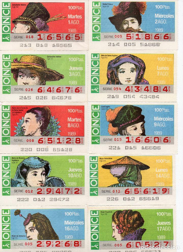 Cupones ONCE: cupones once 1989,serie sombreros adornos de cabeza, serie de 108 cupones completa - Foto 10 - 102712063