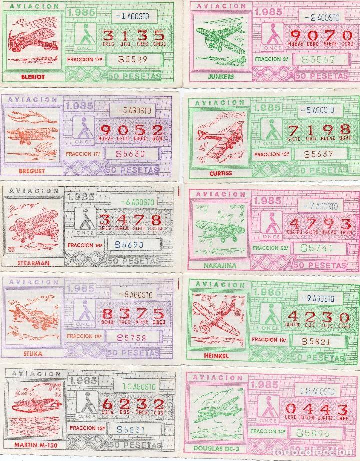 CUPON ONCE 1985,SERIE AVIACIÓN, 68 CUPONES COMPLETA (Coleccionismo - Lotería - Cupones ONCE)
