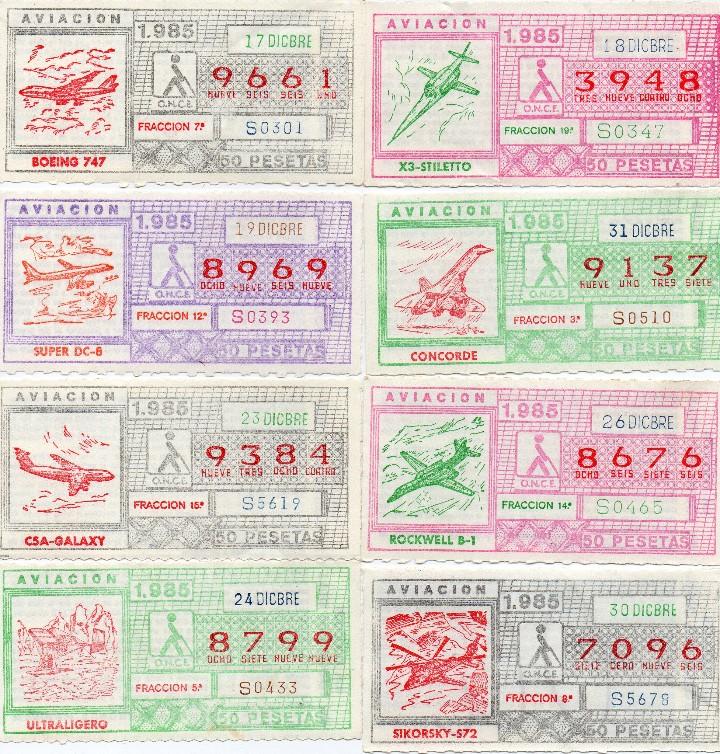 Cupones ONCE: CUPON ONCE 1985,SERIE AVIACIÓN, 68 CUPONES COMPLETA - Foto 2 - 102819671