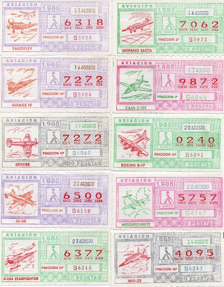 Cupones ONCE: CUPON ONCE 1985,SERIE AVIACIÓN, 68 CUPONES COMPLETA - Foto 3 - 102819671