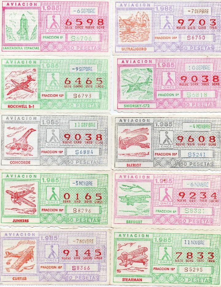 Cupones ONCE: CUPON ONCE 1985,SERIE AVIACIÓN, 68 CUPONES COMPLETA - Foto 5 - 102819671