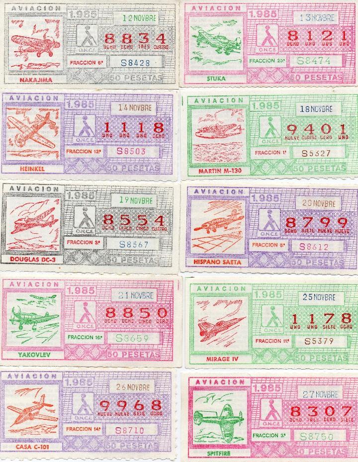 Cupones ONCE: CUPON ONCE 1985,SERIE AVIACIÓN, 68 CUPONES COMPLETA - Foto 6 - 102819671
