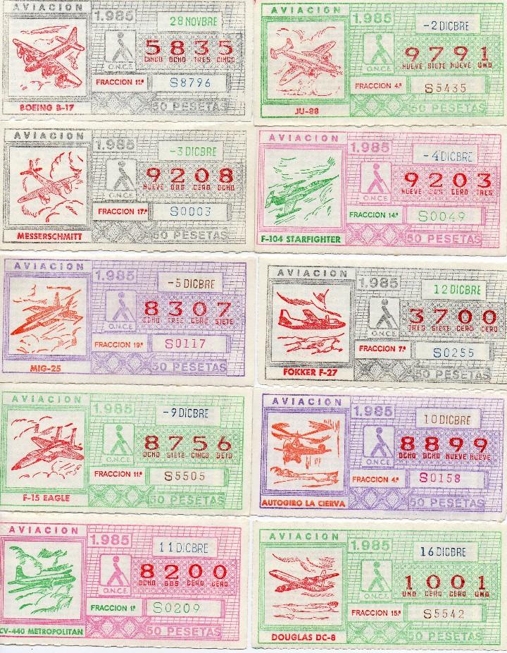 Cupones ONCE: CUPON ONCE 1985,SERIE AVIACIÓN, 68 CUPONES COMPLETA - Foto 7 - 102819671