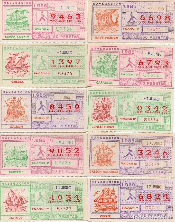 CUPON ONCE 1985, SERIE NAVEGACIÓN,52 CUPONES SERIE COMPLETA, CON EL ESPECIAL 6 DE JUNIO, (Coleccionismo - Lotería - Cupones ONCE)