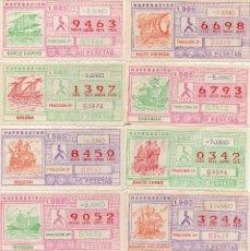 Cupones ONCE: CUPON ONCE 1985, SERIE NAVEGACIÓN,52 CUPONES SERIE COMPLETA, CON EL ESPECIAL 6 DE JUNIO,. Lote 102864023