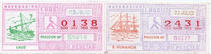 Cupones ONCE: cupon once 1985, serie navegación,52 cupones serie completa, con el especial 6 de junio, - Foto 2 - 102864023