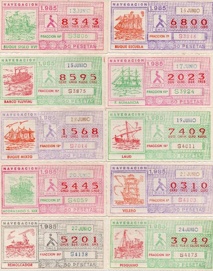 Cupones ONCE: cupon once 1985, serie navegación,52 cupones serie completa, con el especial 6 de junio, - Foto 3 - 102864023