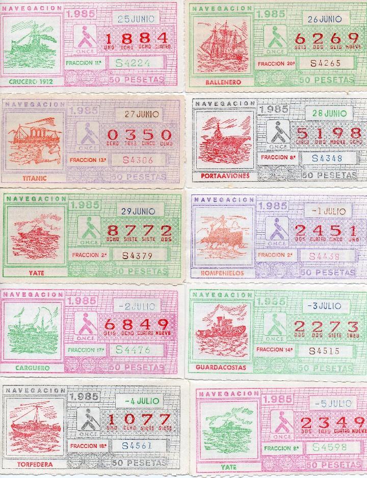 Cupones ONCE: cupon once 1985, serie navegación,52 cupones serie completa, con el especial 6 de junio, - Foto 4 - 102864023