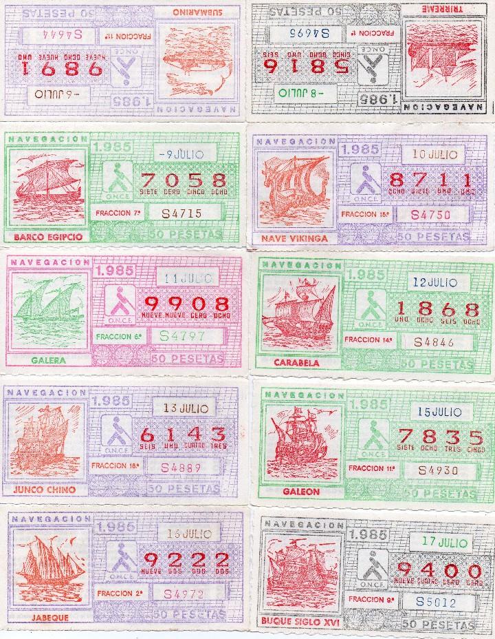 Cupones ONCE: cupon once 1985, serie navegación,52 cupones serie completa, con el especial 6 de junio, - Foto 5 - 102864023