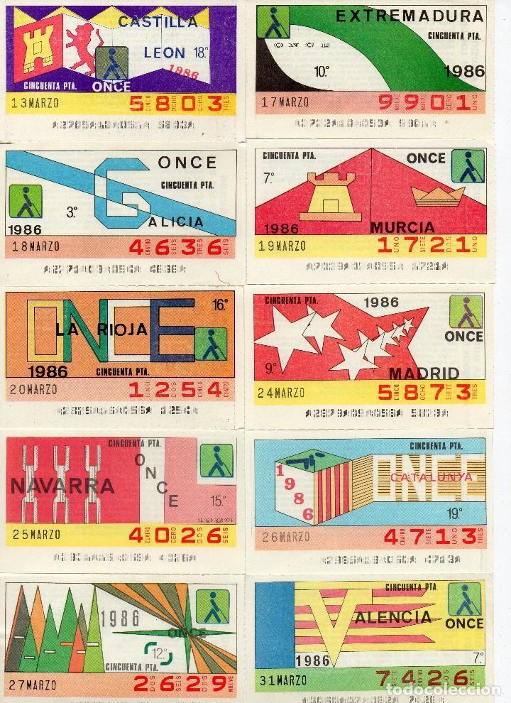 CUPON ONCE 1986, SERIE COMUNIDADES ESPAÑOLAS, 18 CUPONES COMPLETA CON EL ESPECIAL 19 DE MARZO (Coleccionismo - Lotería - Cupones ONCE)