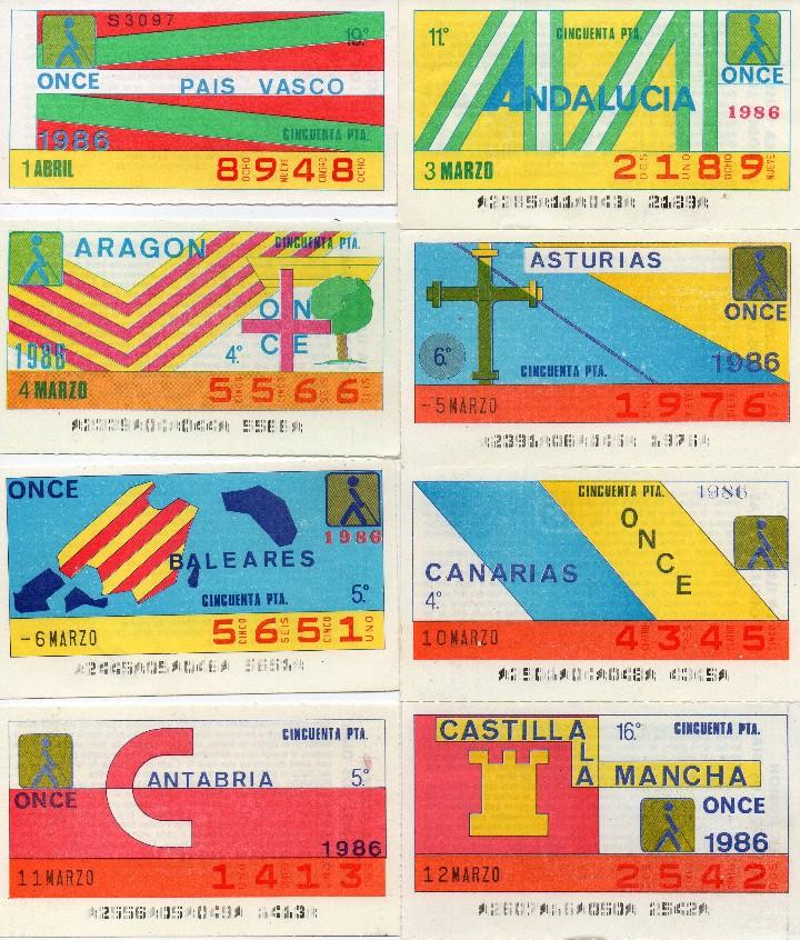 Cupones ONCE: cupon once 1986, serie comunidades españolas, 18 cupones completa con el especial 19 de marzo - Foto 2 - 102955647