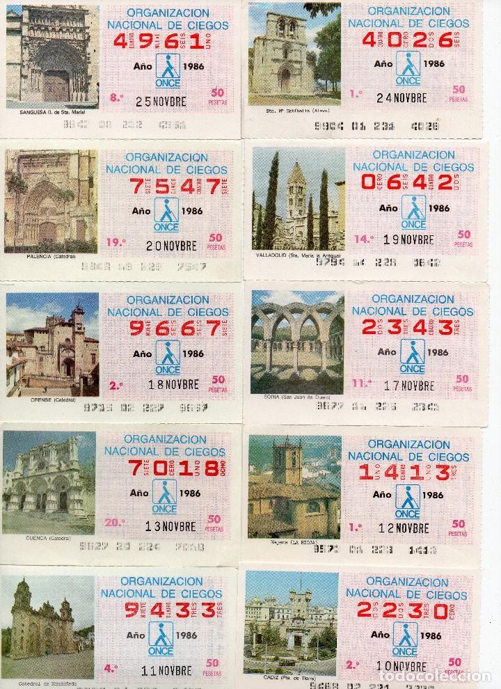 CUPON ONCE 1986, SERIE DE MONUMENTOS, 76 CUPONES SERIE COMPLETA (Coleccionismo - Lotería - Cupones ONCE)