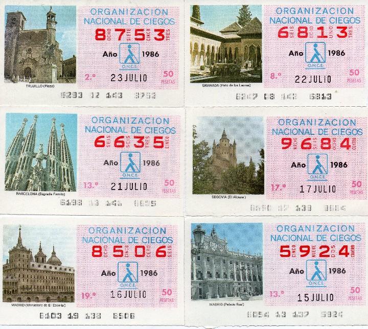 Cupones ONCE: cupon once 1986, serie de monumentos, 76 cupones serie completa - Foto 2 - 103024923