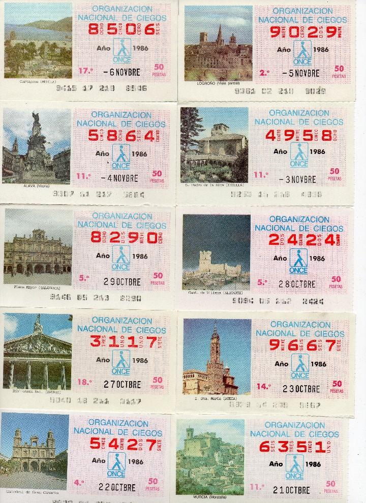 Cupones ONCE: cupon once 1986, serie de monumentos, 76 cupones serie completa - Foto 3 - 103024923