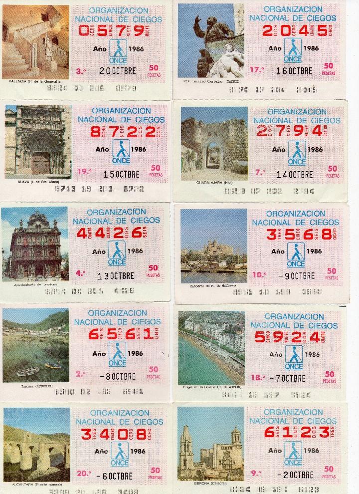 Cupones ONCE: cupon once 1986, serie de monumentos, 76 cupones serie completa - Foto 4 - 103024923