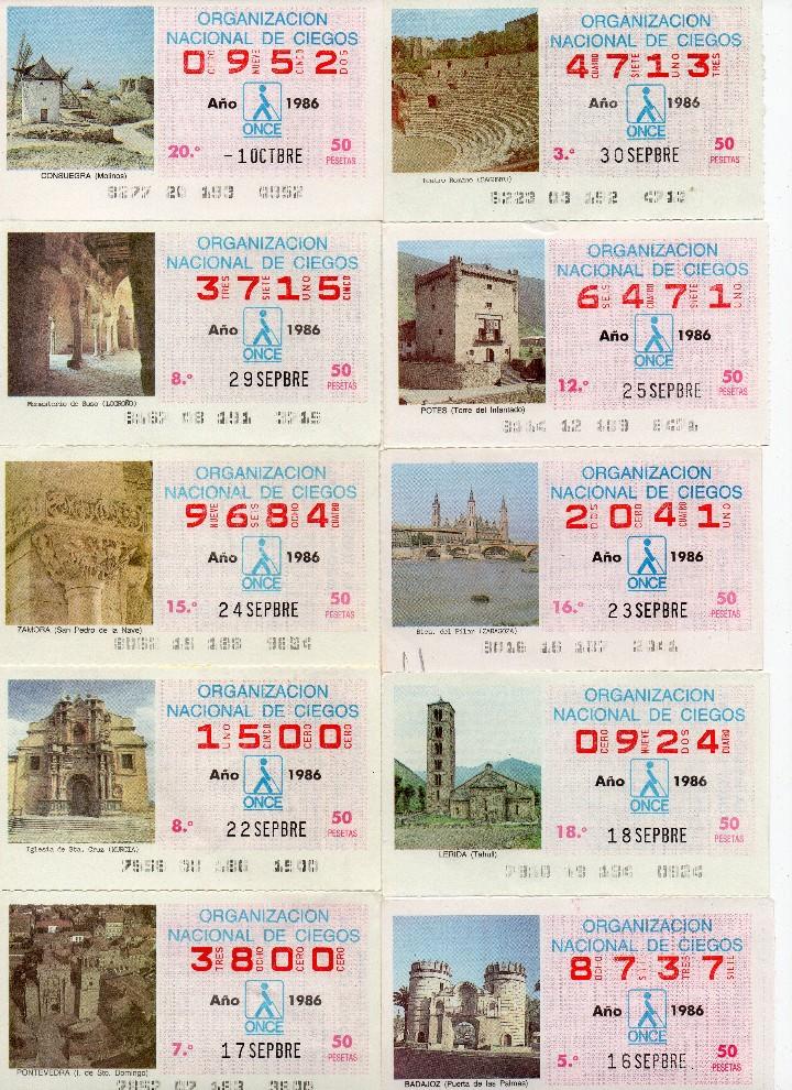 Cupones ONCE: cupon once 1986, serie de monumentos, 76 cupones serie completa - Foto 5 - 103024923