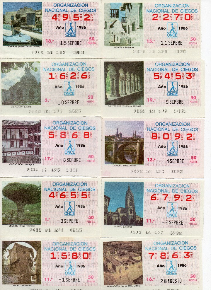 Cupones ONCE: cupon once 1986, serie de monumentos, 76 cupones serie completa - Foto 6 - 103024923