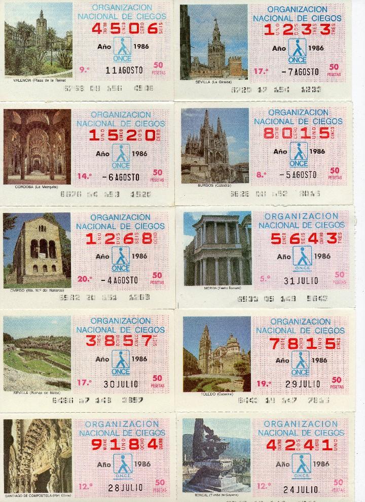 Cupones ONCE: cupon once 1986, serie de monumentos, 76 cupones serie completa - Foto 8 - 103024923
