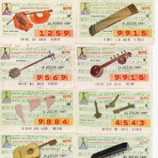 Bilhetes ONCE: CUPON ONCE 1987,SERIE INSTRUMENTOS MUSICALES,70 CUPONES SERIE COMPLETA,. Lote 220967240