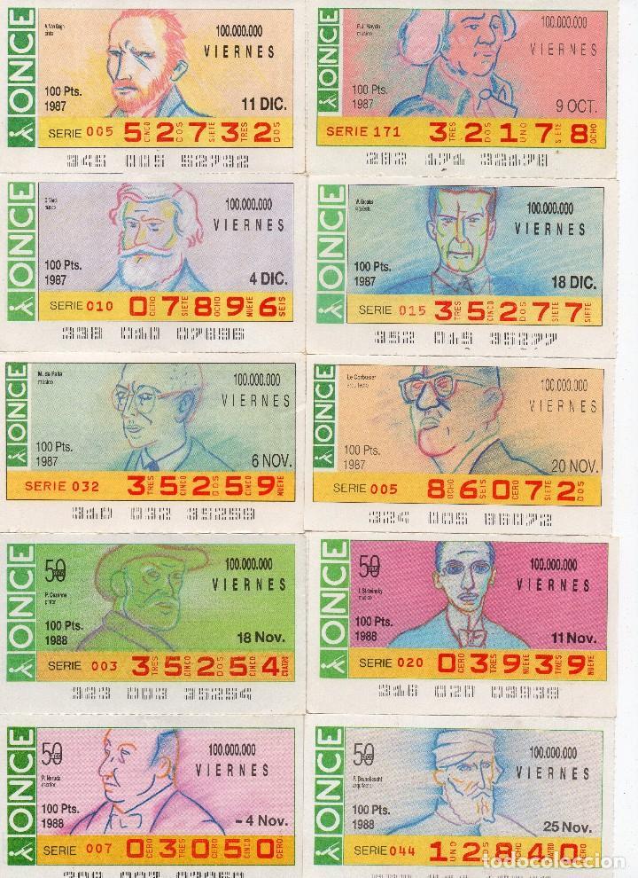 CUPON ONCE 1987, SERIE HOMBRES ILUSTRES, 59 CUPONES SERIE COMPLETA (Coleccionismo - Lotería - Cupones ONCE)
