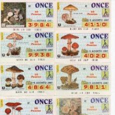 Cupones ONCE: CUPON ONCE 1987, SERIE SETAS,35 CUPONES SERIE COMPLETA. Lote 103110603
