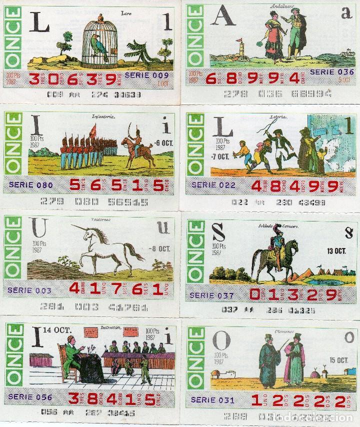 CUPON ONCE 1987, 16 CUPONES SERIE COMPLETA (Coleccionismo - Lotería - Cupones ONCE)